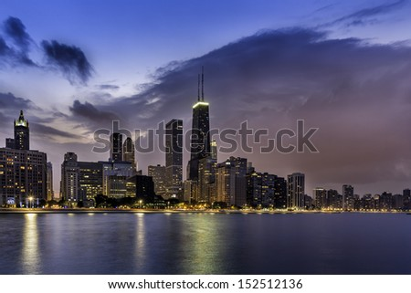 Downtown of Chicago Magnificent Mile by dusk - stock photo