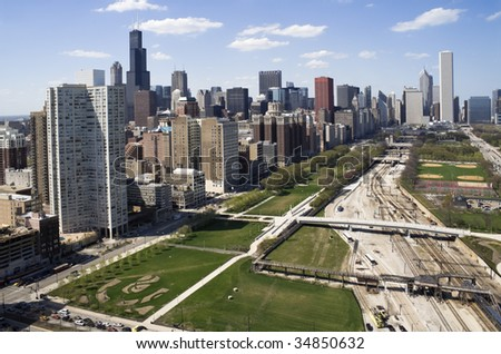 Downtown of Chicago seen from the south side. - stock photo