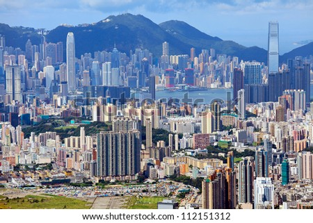 downtown of Hong Kong city - stock photo