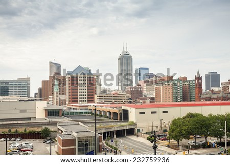 Downtown of Indianapolis city, Indiana, USA - stock photo