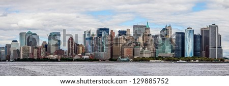 Downtown of New York, panoramic view from the ocean. - stock photo