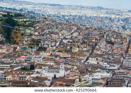 Downtown of Quito from Panecillo hill, Ecuador - stock photo