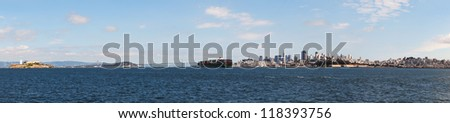 Downtown of San Francisco as seen from the bay in the morning - stock photo