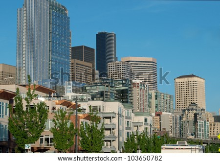 Downtown of Seattle and waterfront in the evening. - stock photo