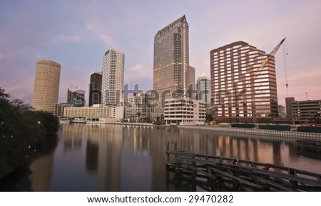 Downtown of Tampa - sunset time - stock photo