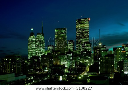 Downtown offices at night - stock photo