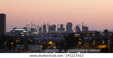 Downtown Phoenix, Arizona skyline at sunset - stock photo