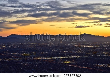 Downtown Phoenix at dusk - stock photo