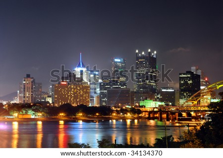 Downtown Pittsburgh at night - stock photo