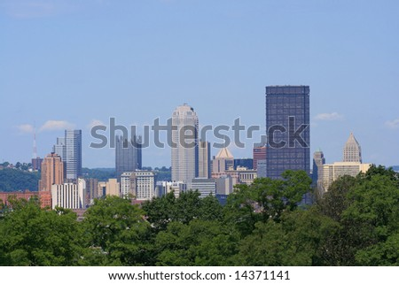 Downtown Pittsburgh's skyline - stock photo
