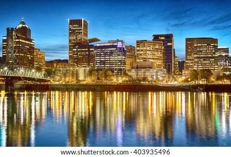 Downtown Portland cityscape at night