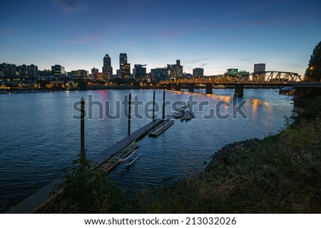 Downtown Portland cityscape during beautiful late sunset - stock photo