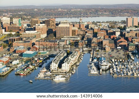Downtown Portland Harbor with view of Maine Medical Center, Commercial street, Old Port and Back Bay. - stock photo
