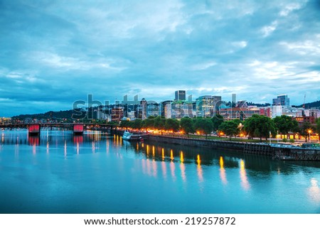 Downtown Portland, Oregon cityscape at the night time - stock photo