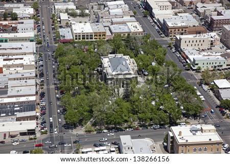 Downtown Prescott, Arizona and the Yavapai County Courthouse - stock photo