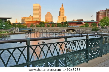 Downtown Providence and river at sunset, Rhode Island, USA - stock photo