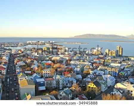 Downtown Reykjavik in Iceland - picture taken from Hallgrimskirkja church - the highest point of Reykjavik. - stock photo