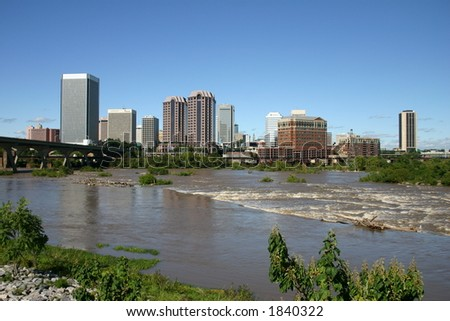 Downtown Richmond - View from the Flood Wall - James River Near Flood Level 3 - stock photo