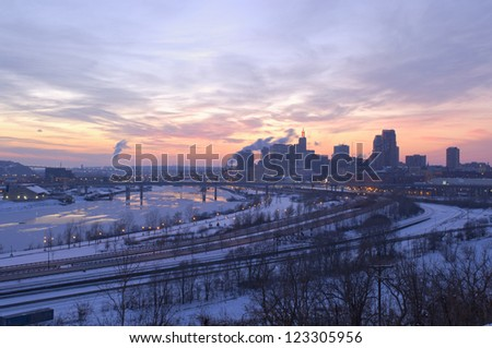 Downtown Saint Paul and Mississippi River at dusk from Indian Mounds Park overlook in winter - stock photo
