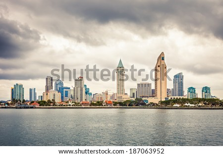 Downtown San Diego at cloudy day - stock photo