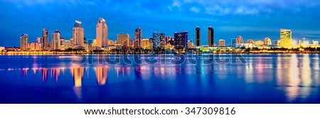 Downtown San Diego at Dawn.  California USA. - stock photo