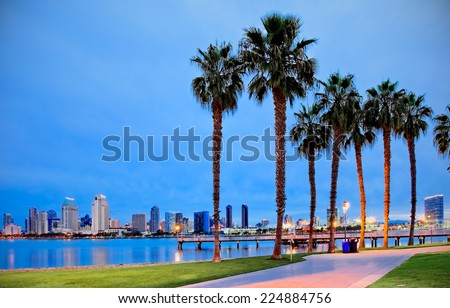 Downtown San Diego California Downtown at Dawn - stock photo
