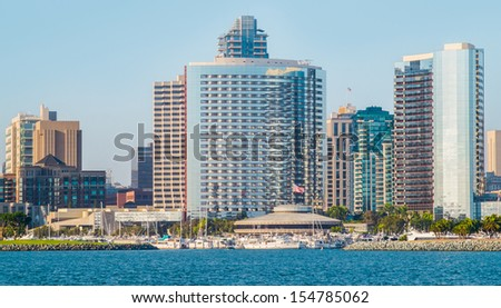 Downtown San Diego City View from Coronado Island, San Diego Southern California  - stock photo