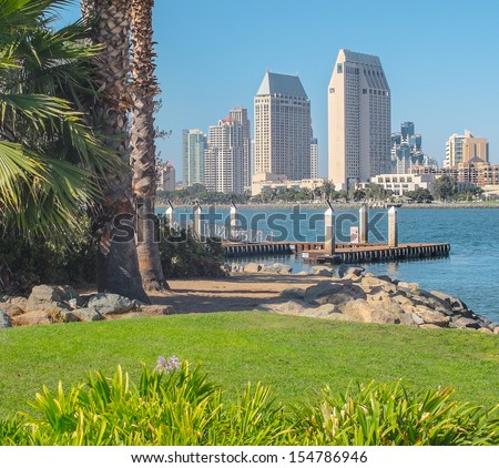 Downtown San Diego City View from Coronado Island, San Diego Southern California, USA - stock photo