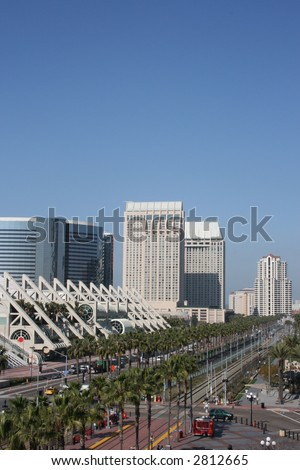 Downtown San Diego's Harbour Drive, including the convention center. - stock photo