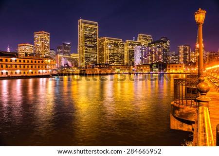 Downtown San Francisco at twilight, California, USA. - stock photo