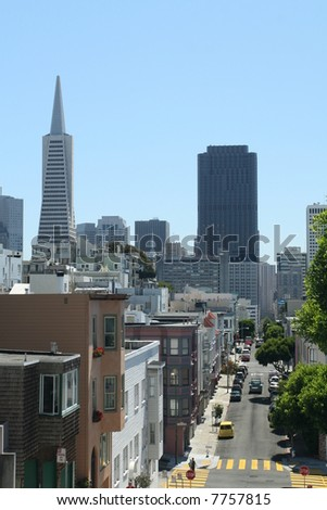 Downtown San Francisco from Hillside - stock photo