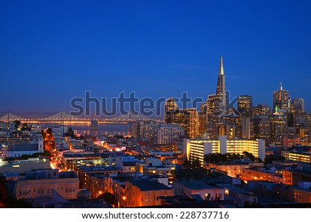 Downtown San Francisco with evening light - stock photo