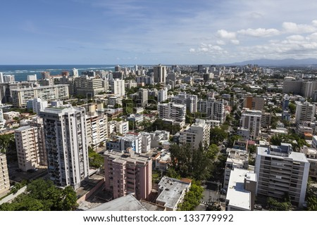 Downtown San Juan, Puerto Rico aerial. - stock photo
