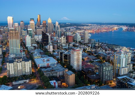 Downtown Seattle and Mt.Rainier at sunset - stock photo