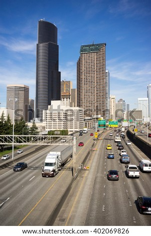 Downtown Seattle City Skyline Interstate 5 Cars Divided Highway - stock photo