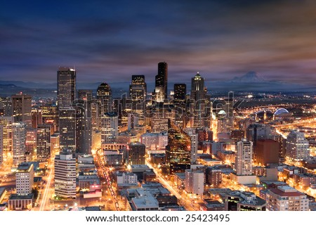 downtown seattle from above