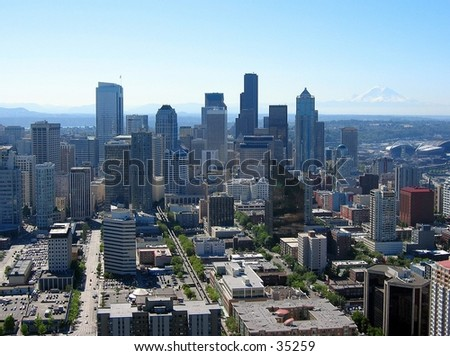 Downtown Seattle from the Spaceneedle - stock photo