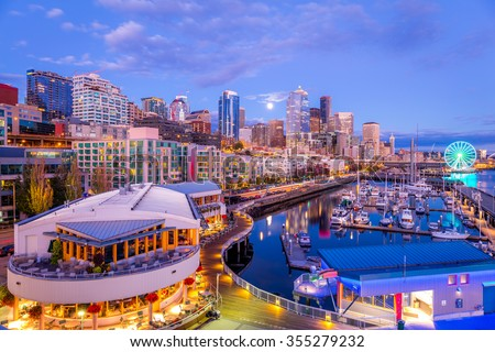 downtown Seattle, Pier 66 - stock photo