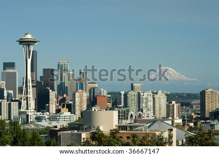 Downtown Seattle Space Needle and Mt. Rainier as viewed from Queen Anne. - stock photo