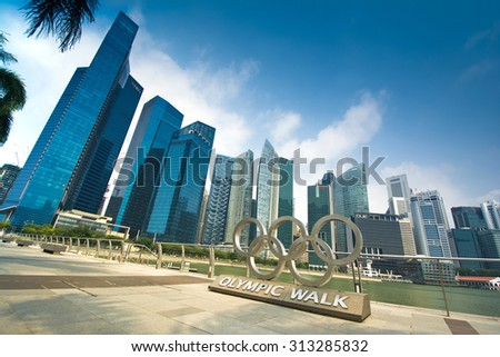 DOWNTOWN, SINGAPORE - AUGUST 27: Singapore Skyline And Modern Skyscrapers Of Business District Marina Bay Sands On August 27, 2015 In Downtown, Singapore - stock photo