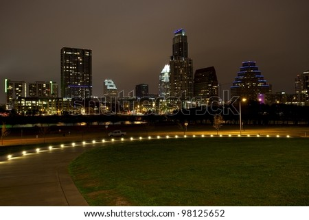 Downtown Skyline at night - stock photo