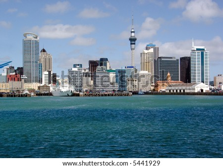 Downtown skyline of Auckland City, New Zealand - stock photo