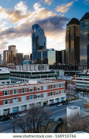 Downtown Skyline of Calgary Alberta Canada in Spring - stock photo