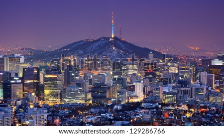 Downtown skyline of Seoul, South Korea with Seoul Tower. - stock photo