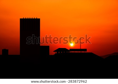 Downtown sunset downtown skyline at sunset - stock photo