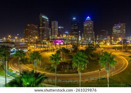 Downtown Tampa Florida at night - stock photo