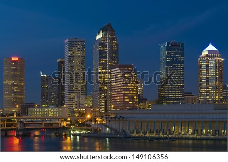 Downtown Tampa Florida Skyline Night - stock photo