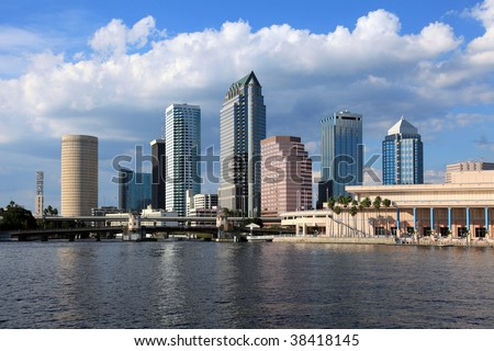Downtown Tampa on a bright sunny day in October of 2009 - stock photo