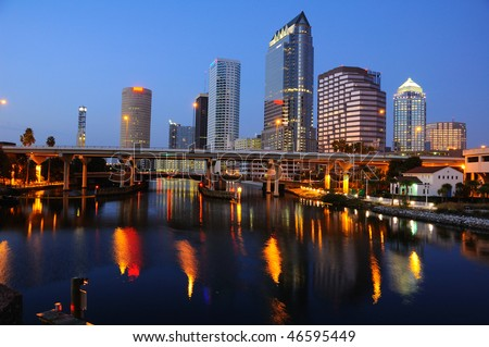 Downtown Tampa Skyline Reflection at Night - stock photo