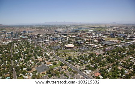Downtown Tempe, Arizona Skyline looking from the southwest to northeast - stock photo
